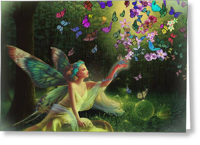 Fairy Of The Butterflies Greeting Card by Edelberto Cabrera