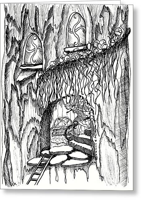 Fairy On Stairs Tree Fairy Home Greeting Card by Dawn Boyer