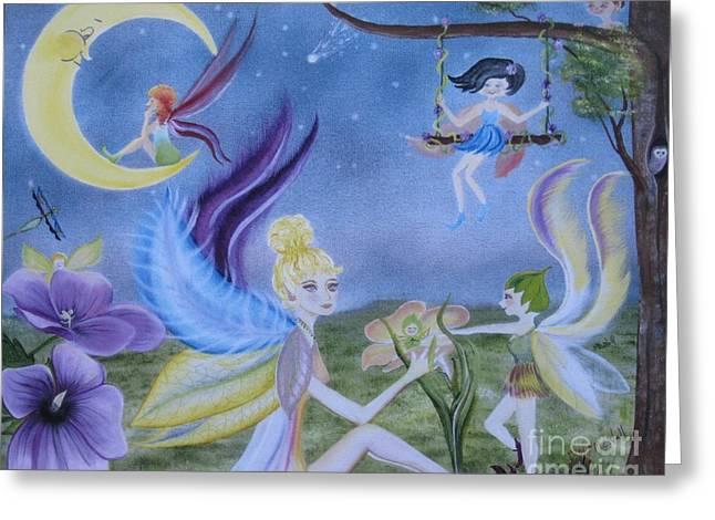 Fairy Play Greeting Card by RJ McNall