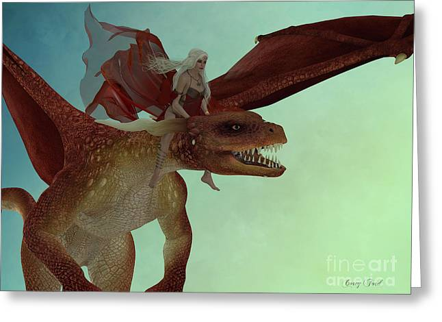 Fairy Rides Dragon Greeting Card