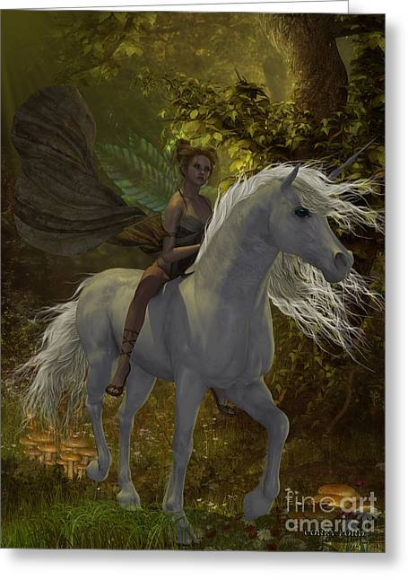 Fairy Rides Unicorn Greeting Card by Corey Ford