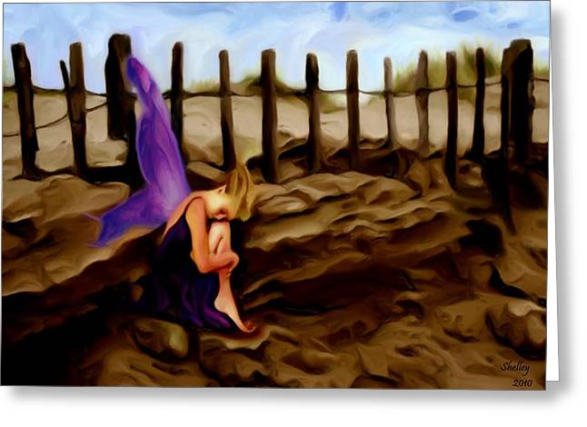 Fairy Sleeping On The Dunes Greeting Card by Shelley Bain