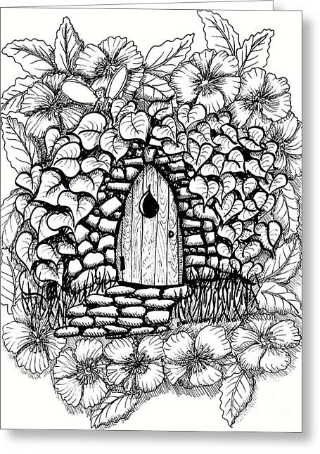 Fairy Stone House With Flowers Greeting Card by Dawn Boyer