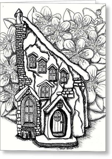Fairy Stucco House With Flowers Greeting Card by Dawn Boyer