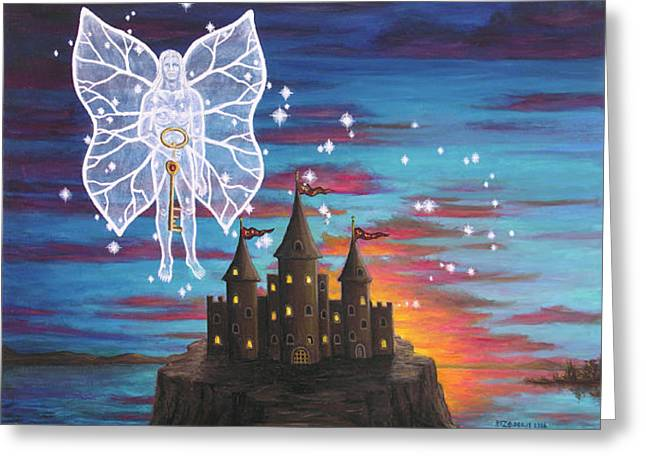 Fairy Takes The Key Greeting Card by Roz Eve