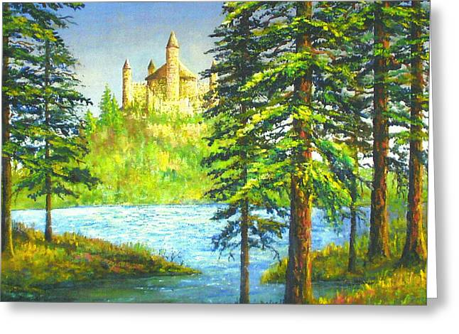 Fairy Tale Castle Greeting Card by Lou Ann Bagnall
