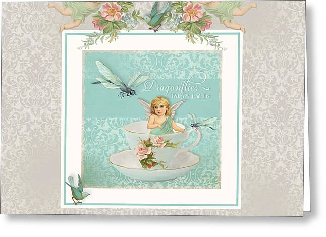 Fairy Teacups - Vintage Modern Baby Room Decor Greeting Card by Audrey Jeanne Roberts