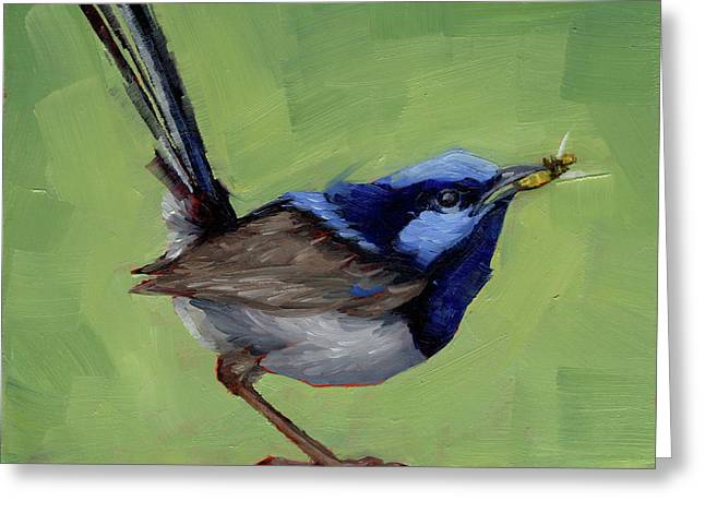 Fairy Wren With Lunch  Greeting Card