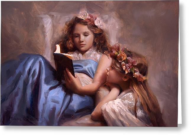 Greeting Card featuring the painting Fairytales And Lace - Portrait Of Girls Reading A Book by Karen Whitworth