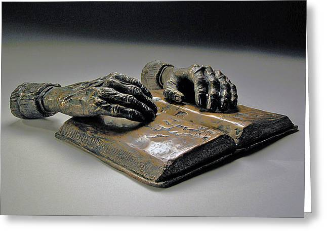 Hands Sculptures Greeting Cards - Faith Greeting Card by Eduardo Gomez