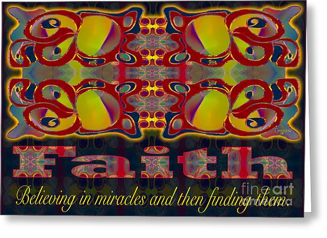 Faith Motivational Artwork By Omashte Greeting Card
