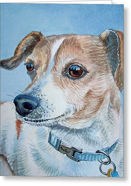 Dog Portraits Greeting Cards - Faithful Eyes Greeting Card by Irina Sztukowski