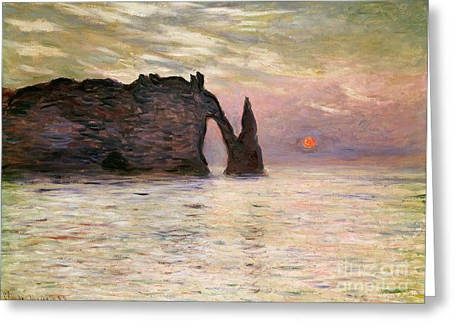 Falaise Detretat Greeting Card by Claude Monet