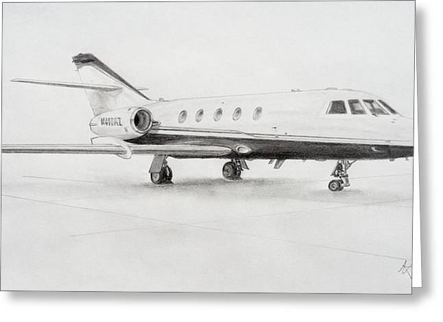 Falcon 20 Alone On The Ramp Greeting Card by Nicholas Linehan