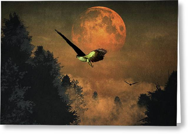 Greeting Card featuring the painting Falcons Hunting In The Evening by Jan Keteleer