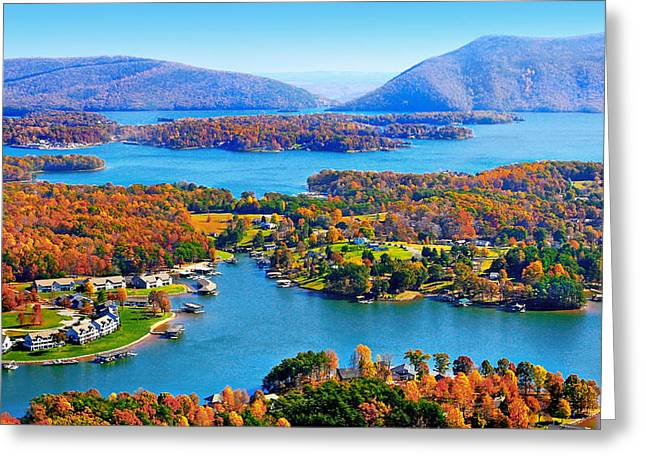 Fall Aerial Smith Mountain Lake Greeting Card by The American Shutterbug Society