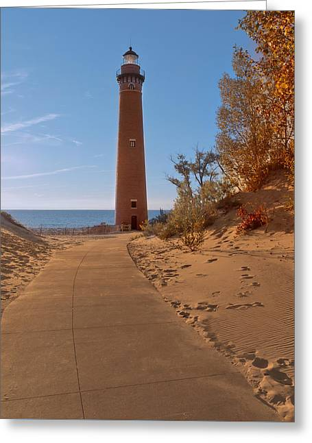 Fall At Little Point Sable Light Greeting Card