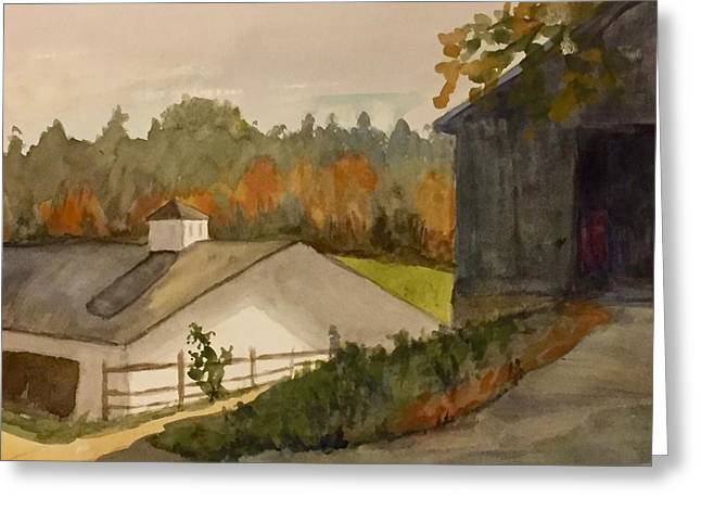 Fall At The Barn Greeting Card by Peggy Poppe