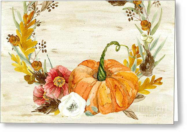Greeting Card featuring the painting Fall Autumn Harvest Wreath On Birch Bark Watercolor by Audrey Jeanne Roberts