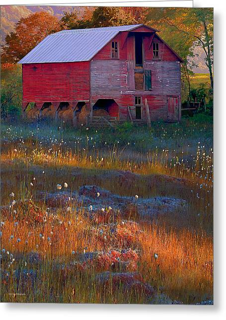 Fall Colors Digital Greeting Cards - Fall Barn Greeting Card by Ron Jones