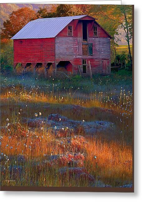 Fall Barn Greeting Card by Ron Jones