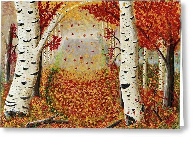 Fall Birch Trees Greeting Card by Susan Schmitz