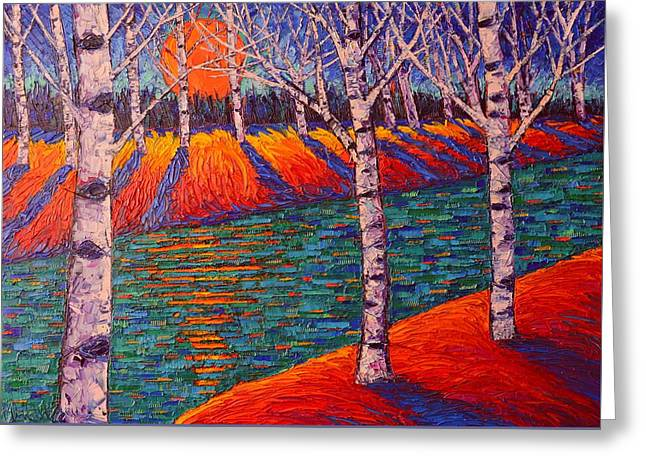 Fall Birches At Sunrise Contemporary Impressionist Palette Knife Oil Painting By Ana Maria Edulescu Greeting Card by Ana Maria Edulescu