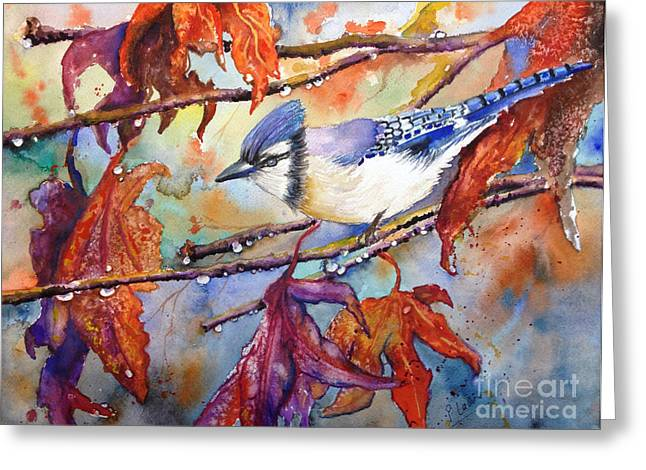 Greeting Card featuring the painting Fall Blue Jay by Priti Lathia