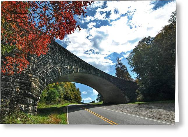Fall Bridge Greeting Card