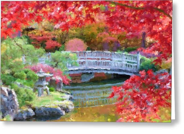 Fall Bridge In Manito Park - Impressionistic Greeting Card by Carol Groenen