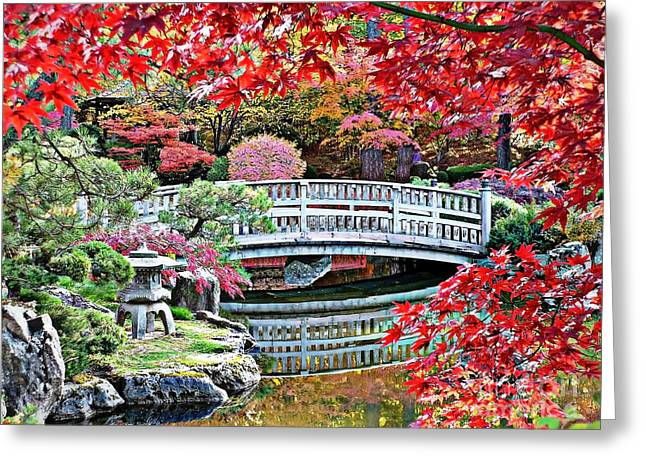Fall Bridge In Manito Park Greeting Card by Carol Groenen