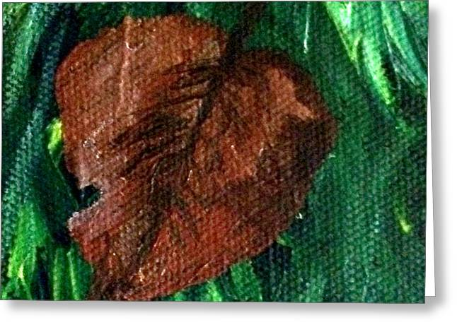 Greeting Card featuring the painting Fall Brown Leaf by Janelle Dey