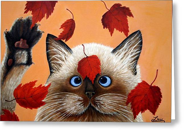 Fall Cat Greeting Card by Chris Law