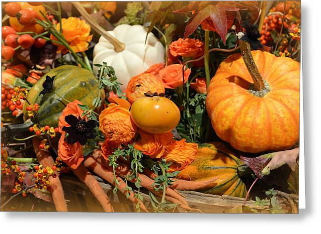 Fall Centerpiece Greeting Card by Linda Covino