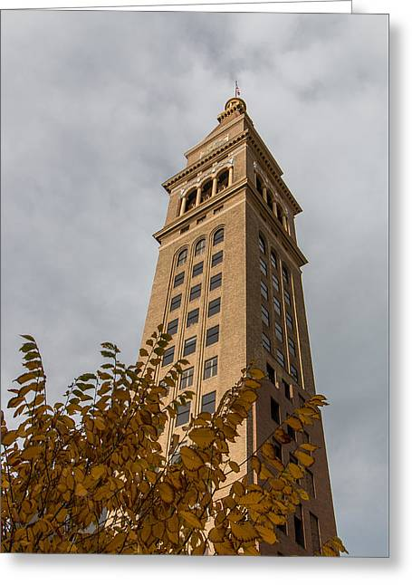 Fall Colors In Front Of A Denver Icon Greeting Card