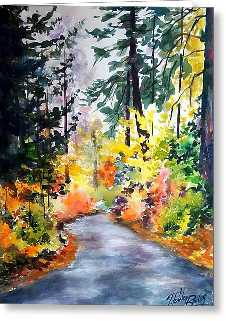 Fall Colors Make Balch Park Greeting Card by Therese Fowler-Bailey