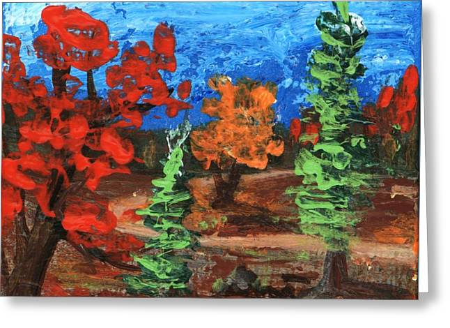 Greeting Card featuring the painting Fall Colours #1 by Anastasiya Malakhova