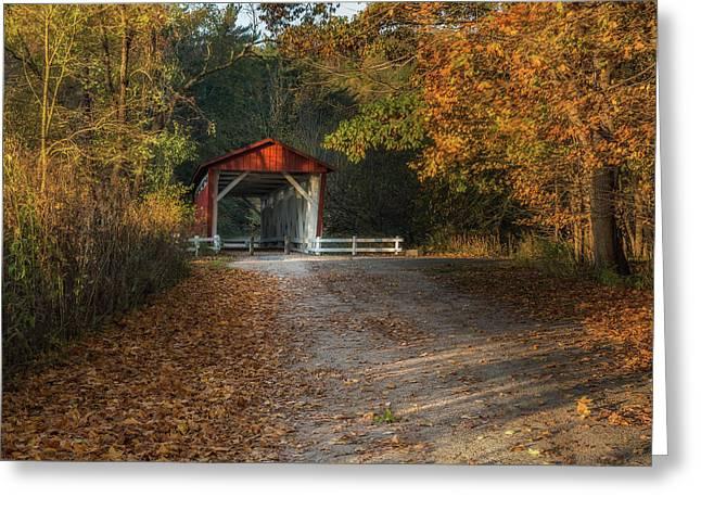 Fall Covered Bridge Greeting Card by Dale Kincaid