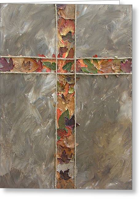 Fall Cross Greeting Card by Donielle Boal