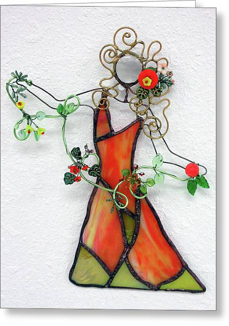Fall Dancer Greeting Card by Maxine Grossman