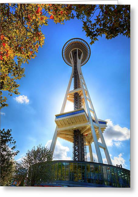 Fall Day At The Space Needle Greeting Card