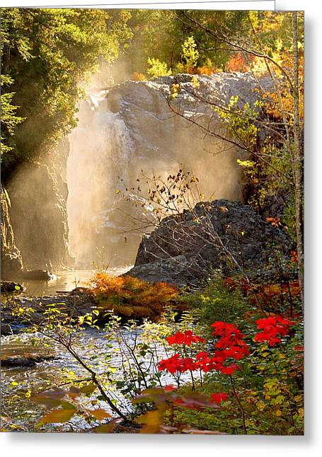 Fall Falls Mist  Dead River Falls  Marquette Mi Greeting Card