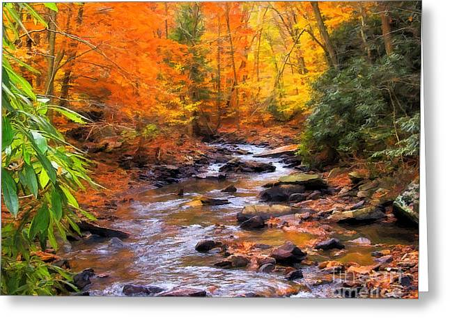 Fall Fire Greeting Card by Randy Steele