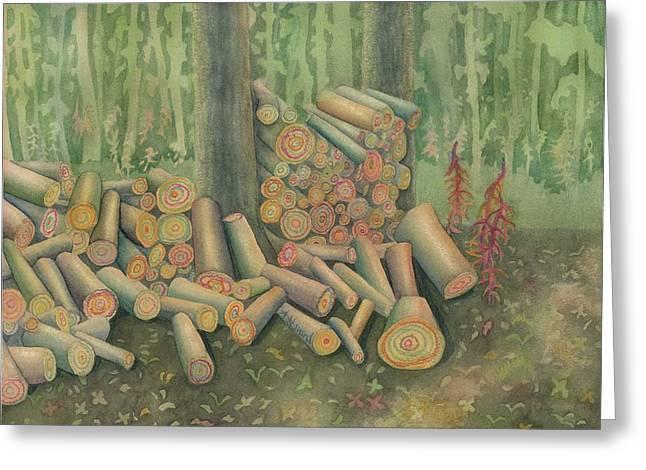 Fall Firewood Greeting Card by Anne Havard