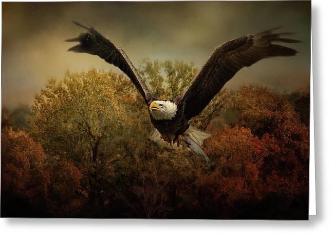 Fall Fishing Bald Eagle Art Greeting Card by Jai Johnson