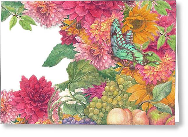 Fall Florals With Illustrated Butterfly Greeting Card