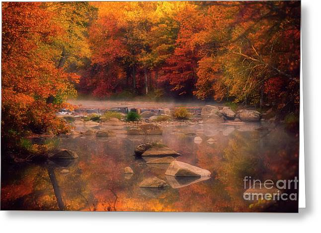 Fall Foliage And A Wisconsin River Greeting Card by Katya Horner
