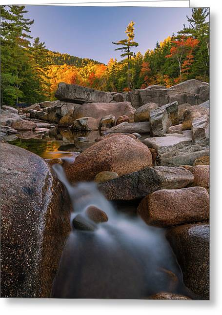 Greeting Card featuring the photograph Fall Foliage In New Hampshire Swift River by Ranjay Mitra