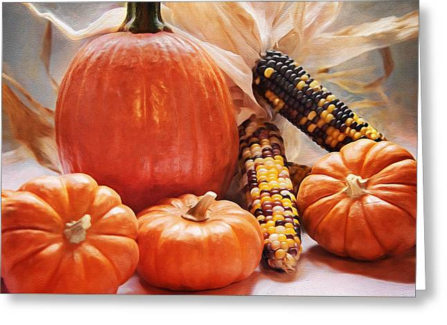 Fall Harvest - Thanksgiving Still Life Greeting Card by Steve Ohlsen
