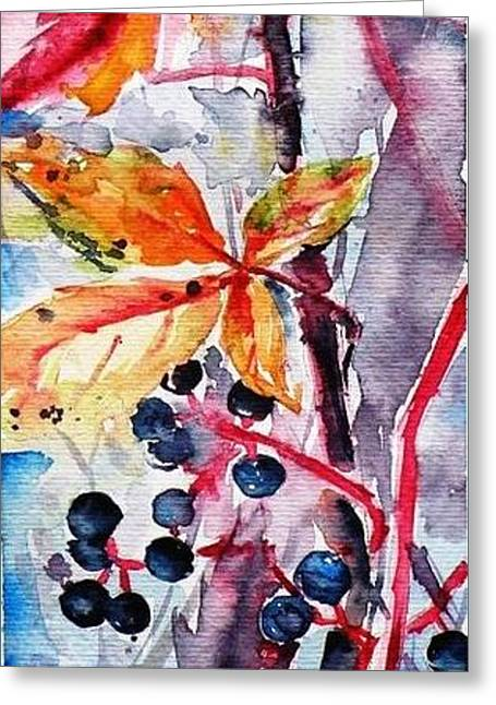 Greeting Card featuring the painting Fall II by Kovacs Anna Brigitta